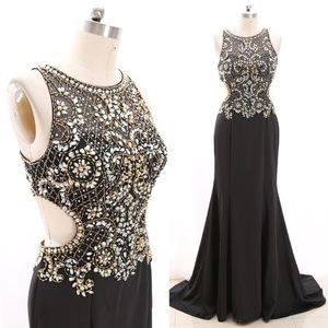 Crystals Satin Black Maxi Prom Dress Cross Back